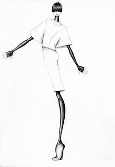 Fashion illustration - black & white fashion drawing of Yves Saint Laurent outfit; fashion sketch // Bruna Volpi