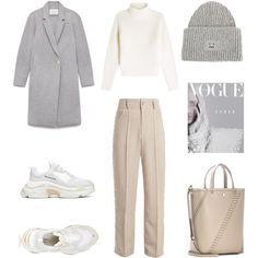A fashion look from February 2018 featuring Burberry, wide leg pants and balenciaga sneakers. Browse and shop related looks. Stylish Winter Outfits, Winter Fashion Outfits, Classy Outfits, Capsule Outfits, Mode Outfits, Mantel Outfit, Korean Girl Fashion, Elegantes Outfit, Looks Vintage