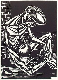'hunger' woodcut by irving amen (1949)