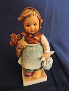 Collectible Hummel Figurine Weary Wanderer 204 Hummel Young Woman with Napsack and Bouquet of Flowers Figure W. Hummel Figurines, Collectible Figurines, Flower Basket, Home Decor Items, Young Women, Gifts For Him, Wander, Vintage Items, Germany