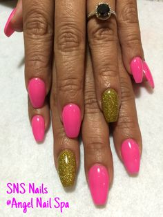 SNS nails (dipping powders) in ballerina shape !