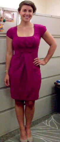 9/22/14--Purple ponte dress, snake skin pumps, pearl earrings, silver watch.