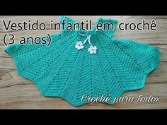 VESTIDO INFANTIL DE CROCHÊ (3anos)I Crochê Para Todos - YouTube Crochet Baby Dress Pattern, Baby Dress Patterns, Crochet Bebe, Crochet Girls, Crochet Baby Clothes, Crochet For Kids, Dishcloth Knitting Patterns, Knit Patterns, Knitting For Kids