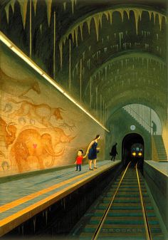 A train station painting by Eric Drooker. I like the details given to the mural and that the kid is looking at it.