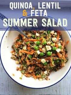 Quinoa, feta and lentil summer salad