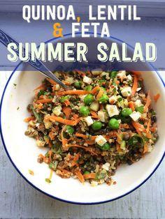 Quinoa, feta and lentil summer salad