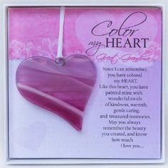 """This unique keepsake gift for mom is handmade in the USA glass whimsical glass heart for Mom. The heart measures and hangs from a white ribbon. Gift-boxed in a white box with a """"Color my Heart"""" sentiment your Mom will love. Family Valentines Day, Valentine Day Gifts, In Law Gifts, Gifts For Him, Ultrasound Frame, Great Grandma Gifts, Christmas Gift Guide, Christmas Treats, Grandparent Gifts"""
