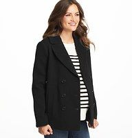 """Maternity Wool Blend Twill Pea Coat - Done in a luxe wool blend - and finished with a chic notched lapel - this adorable pea coat is one piece your cool weather wardrobe can't live without. Double breasted button front. Long sleeves. Side pockets. Back vent. Lined. 25 1/2"""" long."""