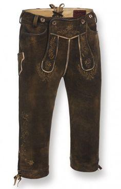 Bavarian leather trousers Hochkoenig old brown knee length h-beam