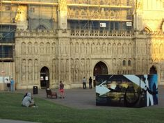 International street artist Mohammed Ali aka Aerosol Arabic displayed his unique FutureCube outside Exeter Cathedral during August and September 2013. The FutureCube was initially exhibited at Exeter University, part of the Islamic Reformulations project which runs until 2015.