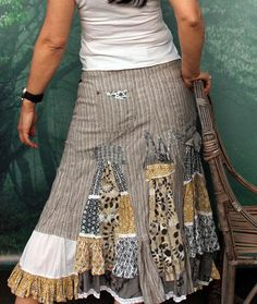 M Gray and cream shabby chic long skirt hippie boho recycled