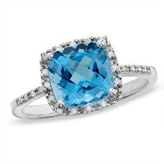 Cushion-Cut Blue Topaz Ring in 14K White Gold with Diamond Accents - Zales