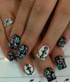 #nail #ancora #fiori #lucide