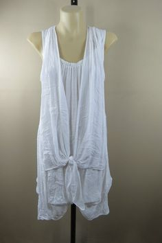 Size 12 M FILO Ladies White Tunic Top Chic Layer Casual Boho Style Beach Cover