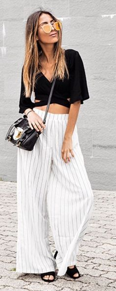 #summer #trendy #outfitideas Black Crop + Stripe Wide Leg Pants
