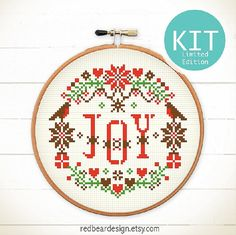 Christmas Cross Stitch KIT - JOY in the Xmas Floral *Limited Edition* Modern + Traditional Folk christmas cross stitch KIT is a great christmas