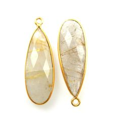 Gold plated Sterling Silver Chain Necklace with Crystal Quartz Large Teardrop Bezel Gemstone Pendant
