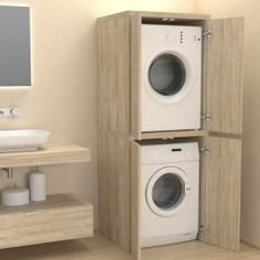 Veca srl produces and sells online Column cover with doors for washing machine - Bathroom furniture - Laundry, made of wood, to cover household appliances Room Design, Bathroom Furniture, Room Organization, Perfect Laundry Room, Column Covers, Utility Rooms, Interior Design Living Room, Bathrooms Remodel, Bathroom Design