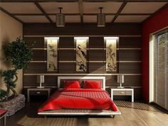 Bedroom, The Interesting Design Of Bedroom With Red Quilt Bed On White Brown Bed Also On Brown Laminating Flooring And Brown Wall With Picture Frame And Pendant Lamp On Nice Room With Red Wall ~ The Wonderful Design Of Asian Inspired Bedrooms With Interesting And Beautiful Style