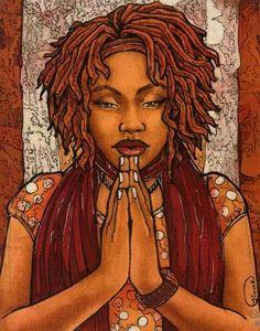 By Tiana Robinson. In Hopes of a Prayer Art gives me life Sexy Black Art, Black Love Art, Black Girl Art, Black Is Beautiful, Art Girl, Beautiful Artwork, Black Girls, African American Art, African Art