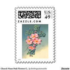 Church Vines Pink Flowers Christian Leaves Postage Stamp