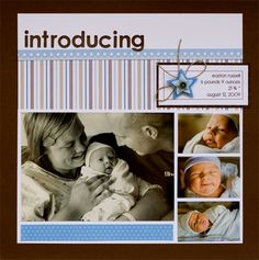 scrapbook+layouts+rugged+baby+boy+arrival | More Projects with Kim and Suzanne plus a GIVEAWAY!