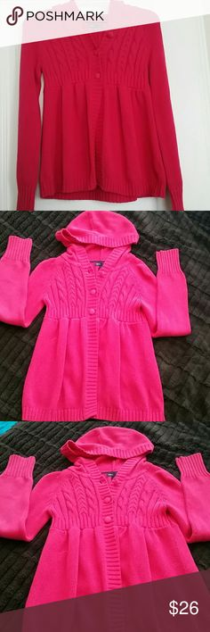 SALE! IT'S SWEATER WEATHER! Bright Pink Sweater with Hood  Cable stitch & buttons to the waist then it flares out. Covered buttons for a finishing touch. GAP KIDS Shirts & Tops Sweatshirts & Hoodies