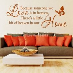 Online Shop Hot Large Because someone we love is in heaven Wall Art Stickers Decal DIY Home Decoration Wall Mural Removable Sticker 40x120cm|Aliexpress Mobile