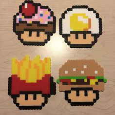 Food mushrooms perler beads by awesomeangela13 perler,hama,square pegboard,video games,nintendo, super mario bros,mushroom,