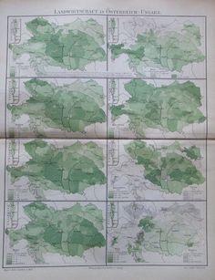 LANDWIRTSCHAFT ÖSTERREICH-UNGARN 1896 alte Landkarte Antique Map Lithographie