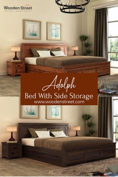 Adolph bed with side storage is a beautifully detailed contemporary furniture design. The headboard and footboard of the bed are detailed with slots that are much noticeable. This bed also assists sufficient storage beneath. The bed is made up of Sheesham wood.