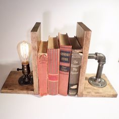 Classic Edison Industrial Steampunk Wood Bookends In Oak