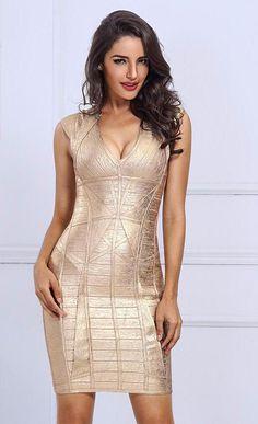 Party Outfits · Fashion Women Autumn Bandage Dress Mini Vestidos Sexy Gold  Green Black V Neck Back Zipper Evening 8353b98fb
