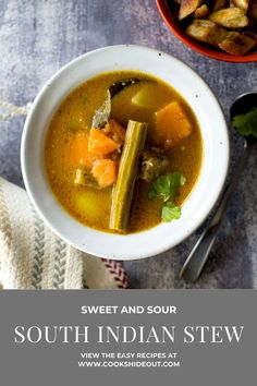 Thiyya pulusu is a sweet and sour Andhra style stew that is made with tons of veggies and a simple stew base. Serve it over rice for a delicious meal. #cookshideout #vegetarian #southindian Andhra Recipes, Ethnic Recipes, Weeknight Meals, Easy Meals, Kootu Recipe, Pumpkin Stew, Vegan Vegetarian, Vegan Recipes, Veggies