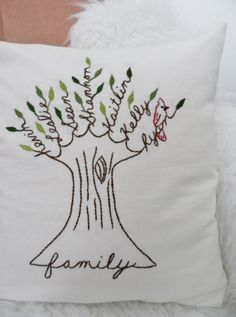 Family Tree Pillow Cover with Cardinal. Shades by BlueLeafBoutique