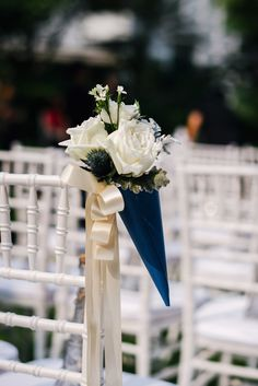 Blue and white flower decor for French-inspired solemnization // French Flair: Josh and Vivian's Parisian-Themed Wedding at Grand Hyatt