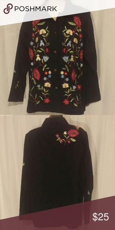 "Quacker Factory Black Floral Embroidered Jacket M Jacket is very light weight. Amazing condition. Beaded. Embroidered. Button front. Long sleeve.   All clothes are in excellent used condition. No stains or holes.  Content: 100% cotton  Bust: 42"" Length: 28""  Posh9 Quacker Factory Jackets & Coats"