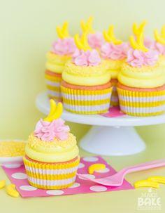 déco tropicale pour anniversaire  déco tropicale pour fête cupcake framboise banane