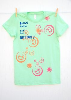 Button Button  hand printed medium lime women's by mumbletease, $30.00