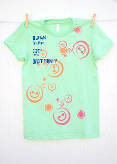 Button Button  hand printed medium lime women's by mumbletease, $30.00