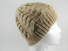 Tan Adult Hat  Men's or Women's Hand Knit Light by SwedetteKnits