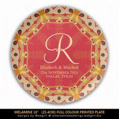 Hexagon Love Red Gold Monogram Wedding Gift Plate