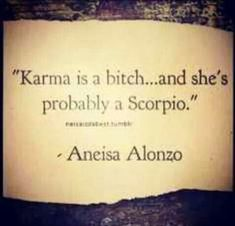 """karma is a bitch.and she's probably a Scorpio"" -- Aneisa Alonzo. Karma is me :) Scorpio Zodiac Facts, Scorpio Traits, Scorpio Girl, Scorpio Love, Scorpio Horoscope, My Zodiac Sign, Zodiac Quotes, Gemini, Horoscopes"