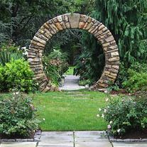 by Garden Gate Landscaping Each piece was carefully split and chiseled to fit the tight radius of the tall moongate.Moongate by Garden Gate Landscaping Each piece was carefully split and chiseled to fit the tight radius of the tall moongate.