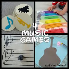 Four Music Games for Toddlers & Preschoolers. 2 of these 4 games I will be putting into my lesson plans. What a life saver for Pre-K!
