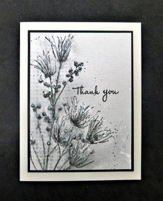 *CAS462 TLC671 Thank You by hobbydujour - at Splitcoaststampers - 1/1/18. (Pin#1: Background: Stencils (sponging/ spritzing/ acrylic whitepaint).  Pin+: Flowers:  Stamps, etc.)