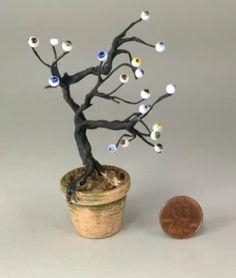Dollhouse miniature 1/12th scale eyeball tree in terra cotta pot