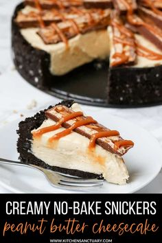 It's seriously rich, so you don't need much to satisfy that sweet tooth. You'll probably end up eating more than you should though. I considered chopping the Snickers bars up into tiny little pieces to sprinkle on top of this cheesecake, but instead I decided to go for big thick manly slices. #nobake #snickers #peanutbutter #cheesecake #snickerscheesecake Snickers Cheesecake, Easy No Bake Cheesecake, Baked Cheesecake Recipe, Best Cheesecake, No Bake Desserts, Easy Desserts, Delicious Desserts, Dessert Recipes, Awesome Desserts