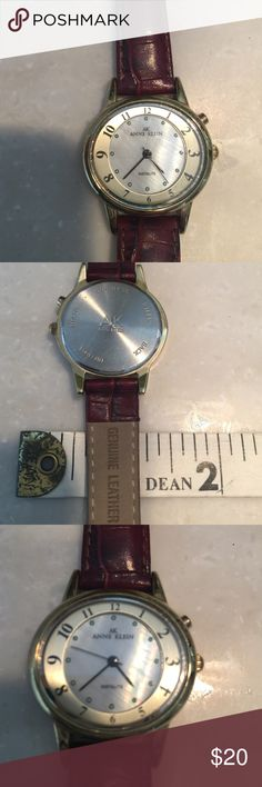 Anne Klein watch Beautiful incline watch with Jenny wine leather strap. Just had a new battery put in so it's ready for your wear. Very classy. It is in excellent condition. Price is firm but please feel free to bundle by purchasing four items in my closet and you will automatically receive a 30% discount. Anne Klein Jewelry