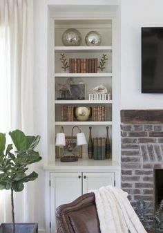 Pretty bookcase styling - shelf styling